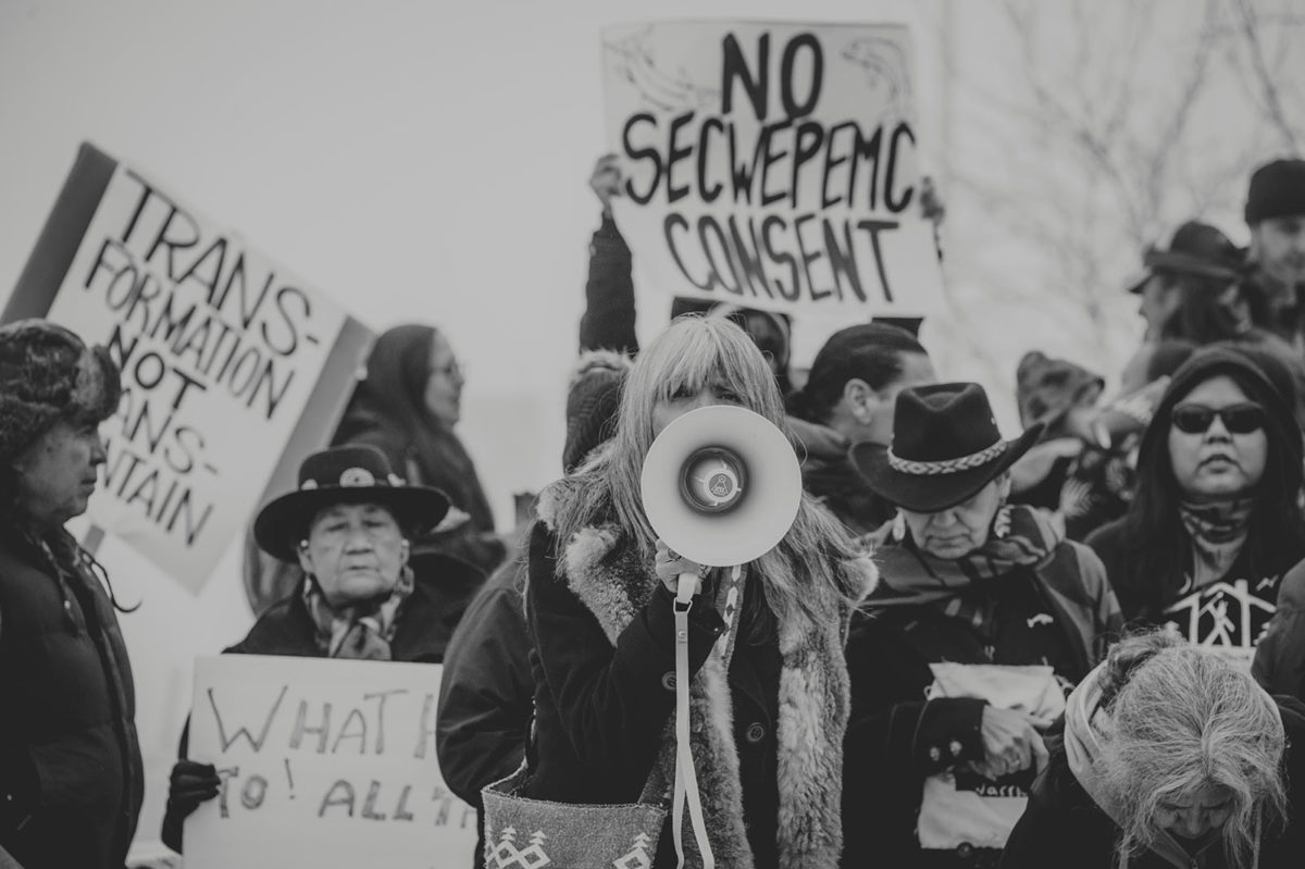 No Secwepemc Consent Protest Image by Billie Jean Gabriel